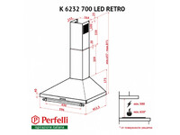 Вытяжка Perfelli K 6232 IV 700 LED RETRO